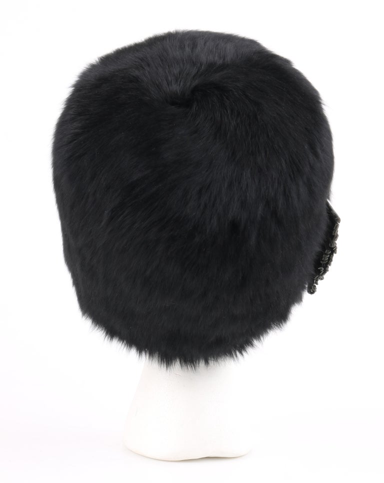 YVES SAINT LAURENT c.1960 s YSL Black Angora Fur Leather Bow Cossack Hat For  Sale 5153826beeea