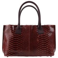 BRUNELLO CUCINELLI Burgundy Red Genuine Python Snakeskin Leather Satchel