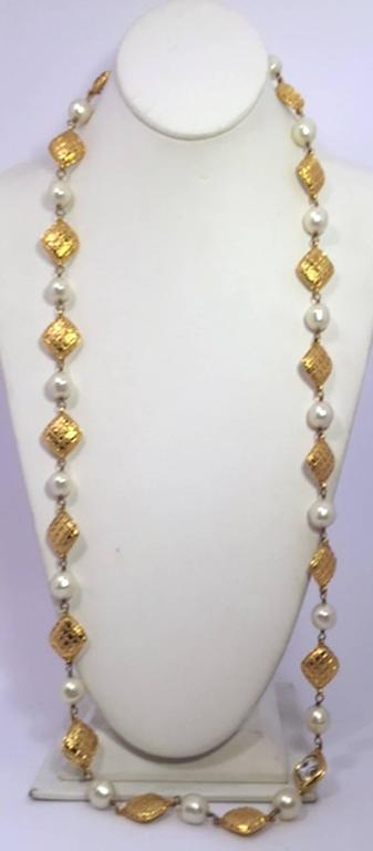 Women's Chanel Long Gold, Pearl and Crystal Necklace For Sale