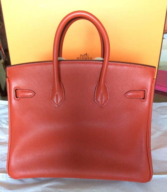 e3ca4ca49bf7 ... canada orange hermes birkin bag 25 cm rouge red tomat palladium hardware  for sale 15cf4 16e12