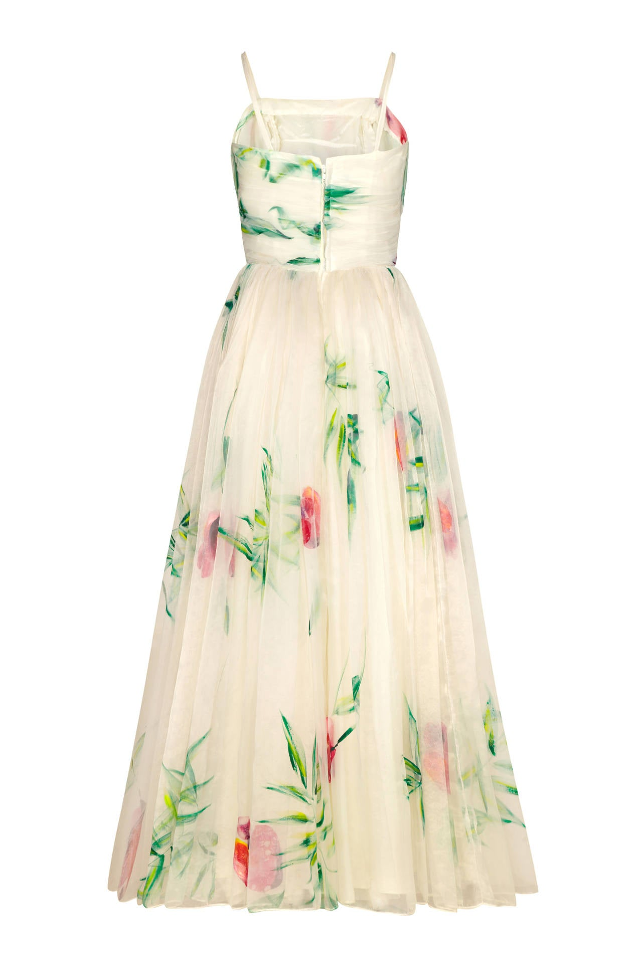 1950s Lee Delman White Hand Painted Gown 2