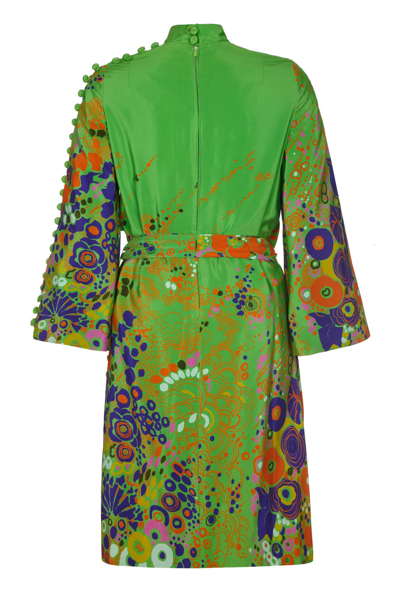 1960s Floral Print Green Dress With Button Detail 2