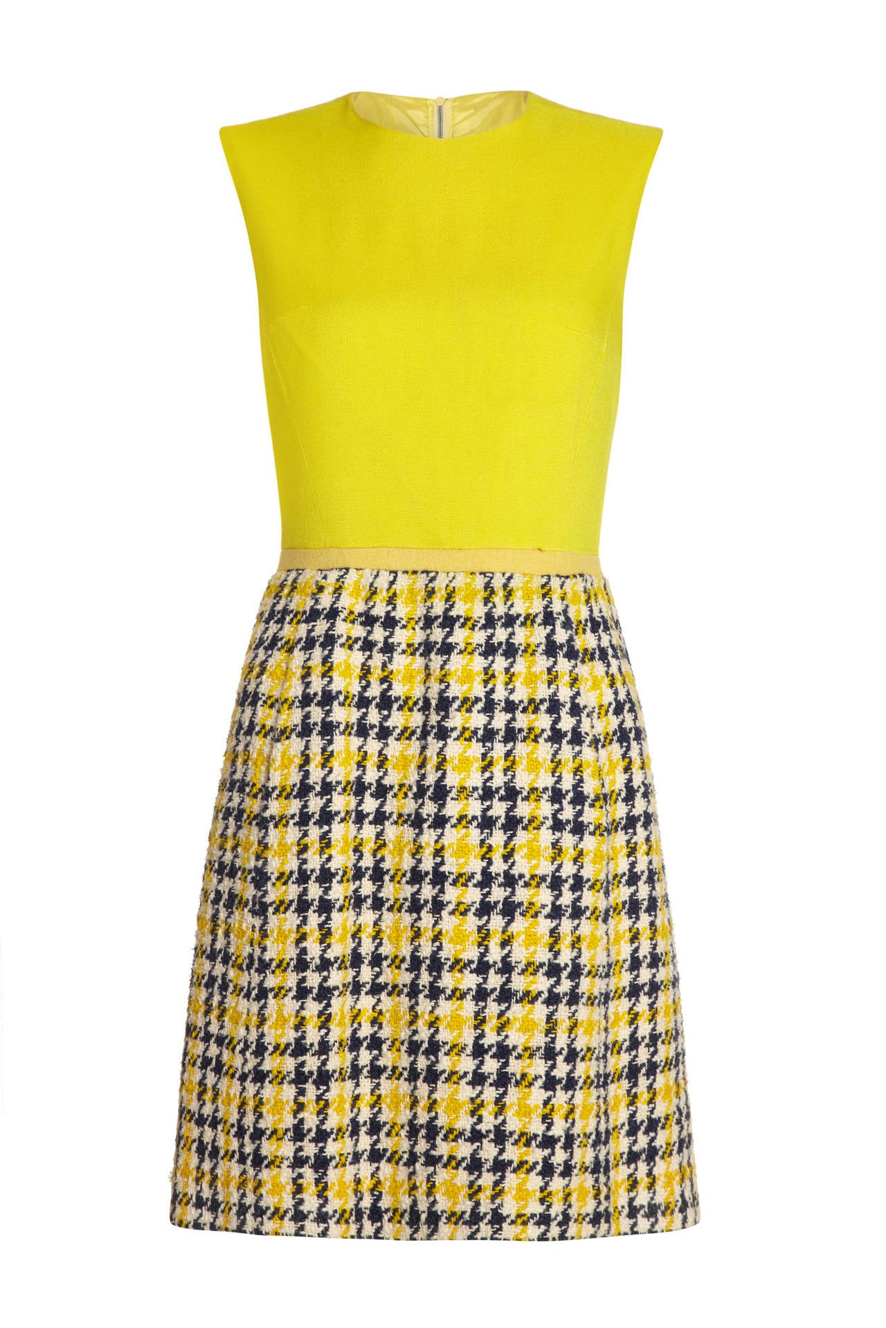 Beige 1960s Yellow & Blue Tweed Dress Suit For Sale
