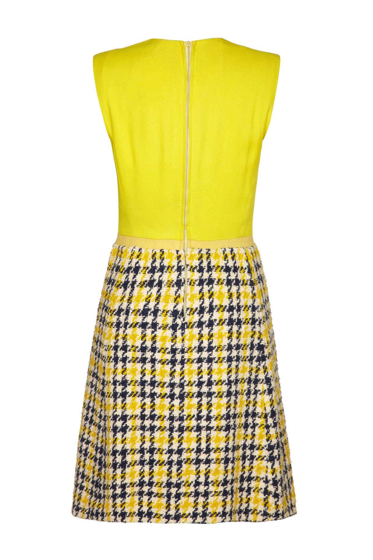 1960s Yellow & Blue Tweed Dress Suit In Excellent Condition For Sale In London, GB