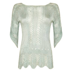 1920s Green Crochet Jumper