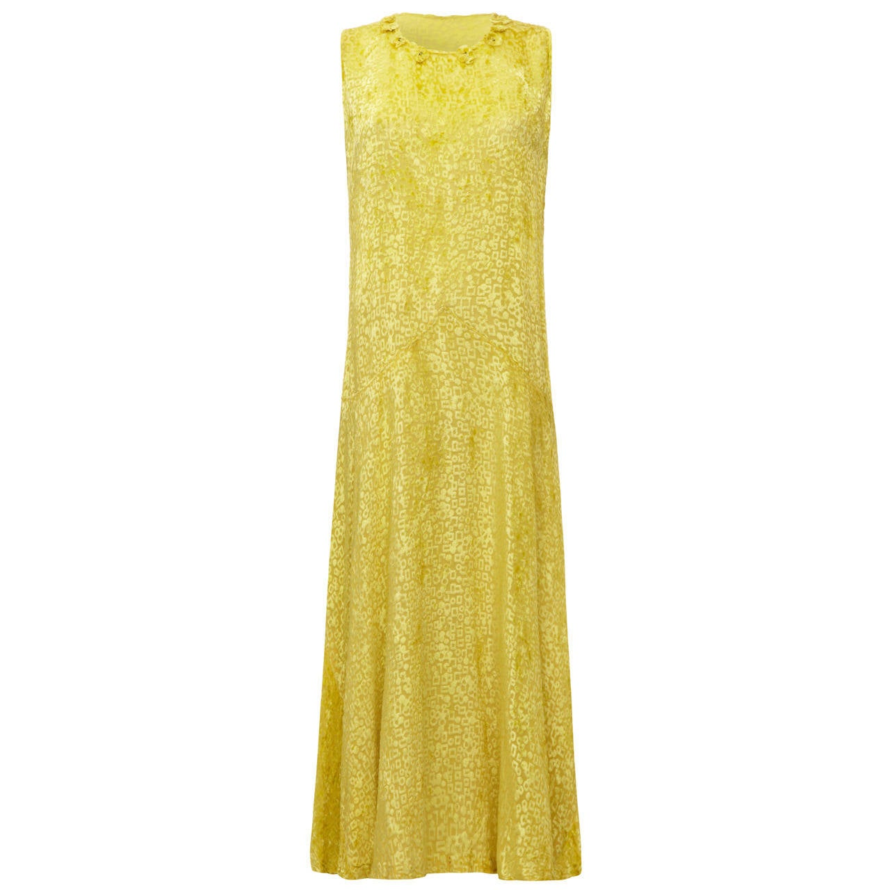 Stunning 1920s Yellow Silk Burn Out Velvet Flapper Dress