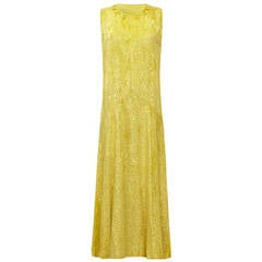 Stunning 1920s Yellow Silk Burn Out Velvet Flapper Dress