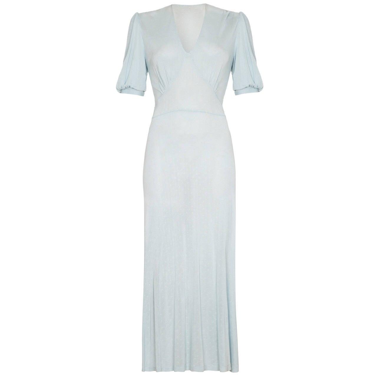 1930s Pale Blue Knit Dress