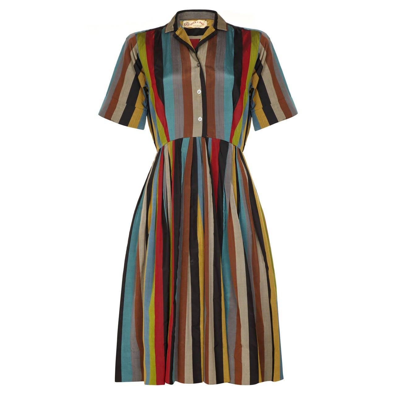 1950s Peck & Peck Striped Silk Shirt Dress 1