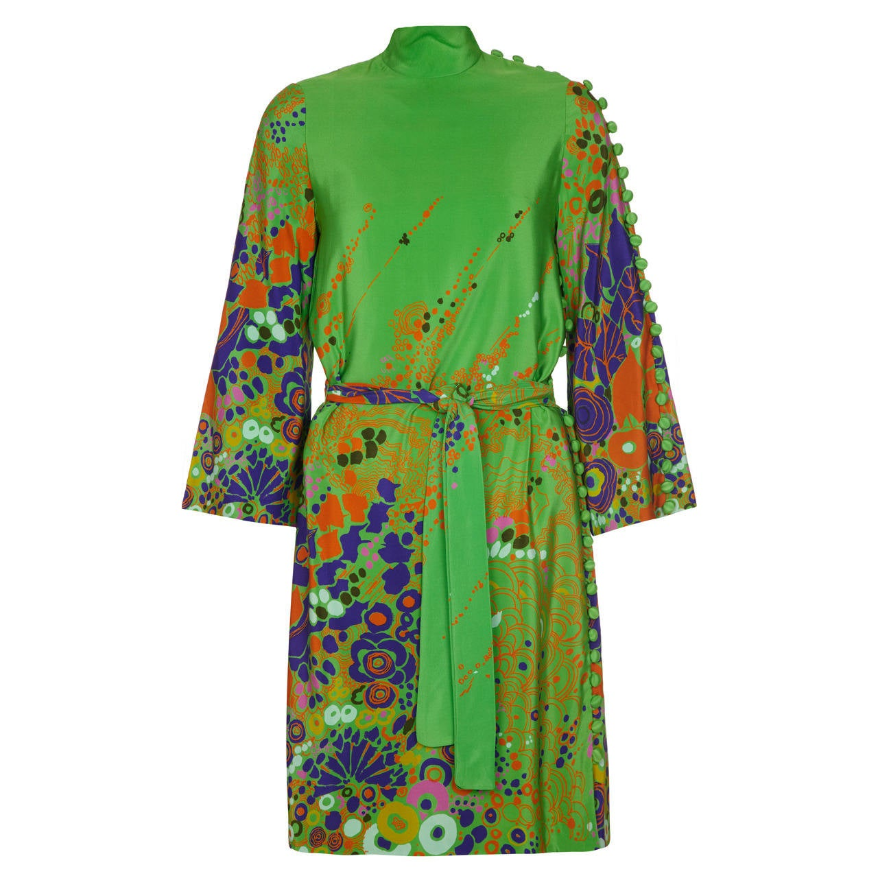 1960s Floral Print Green Dress With Button Detail 1