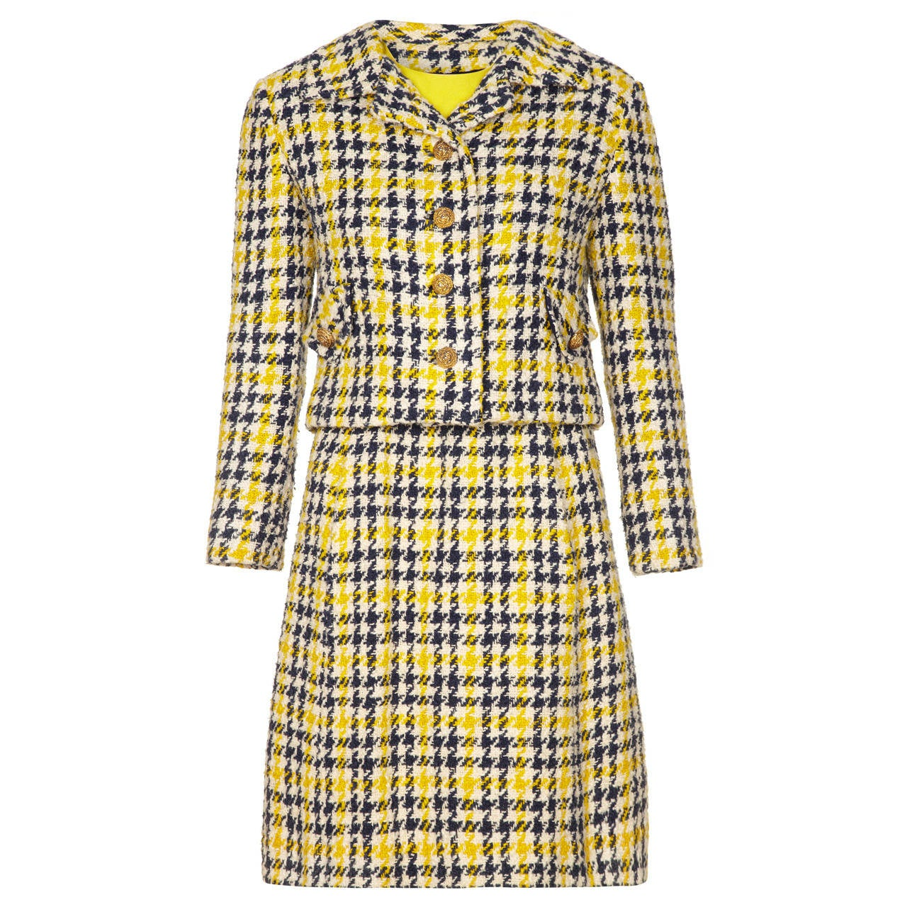 1960s Yellow & Blue Tweed Dress Suit For Sale
