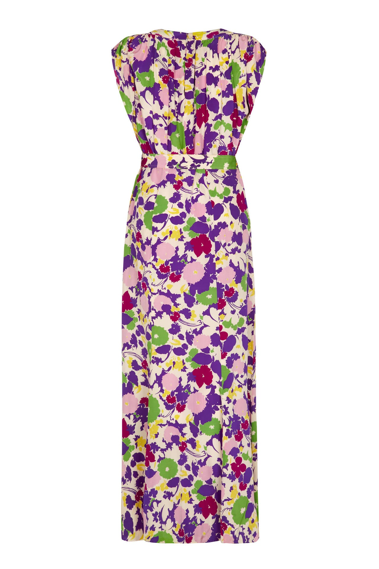 1930s Purple Floral Rayon Gown 2