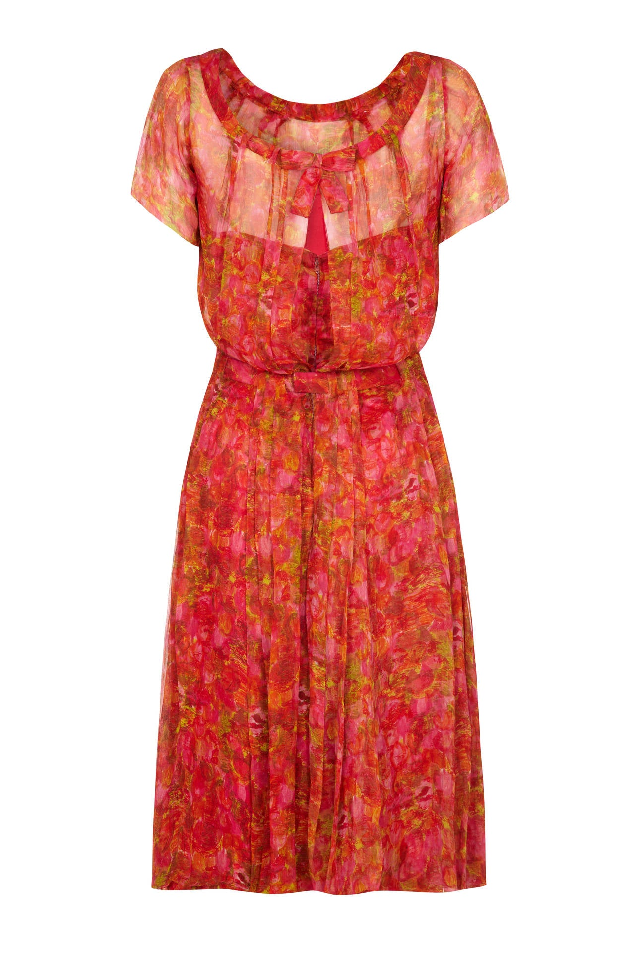 1950s lachasse couture printed chiffon dress at 1stdibs for La couture clothing