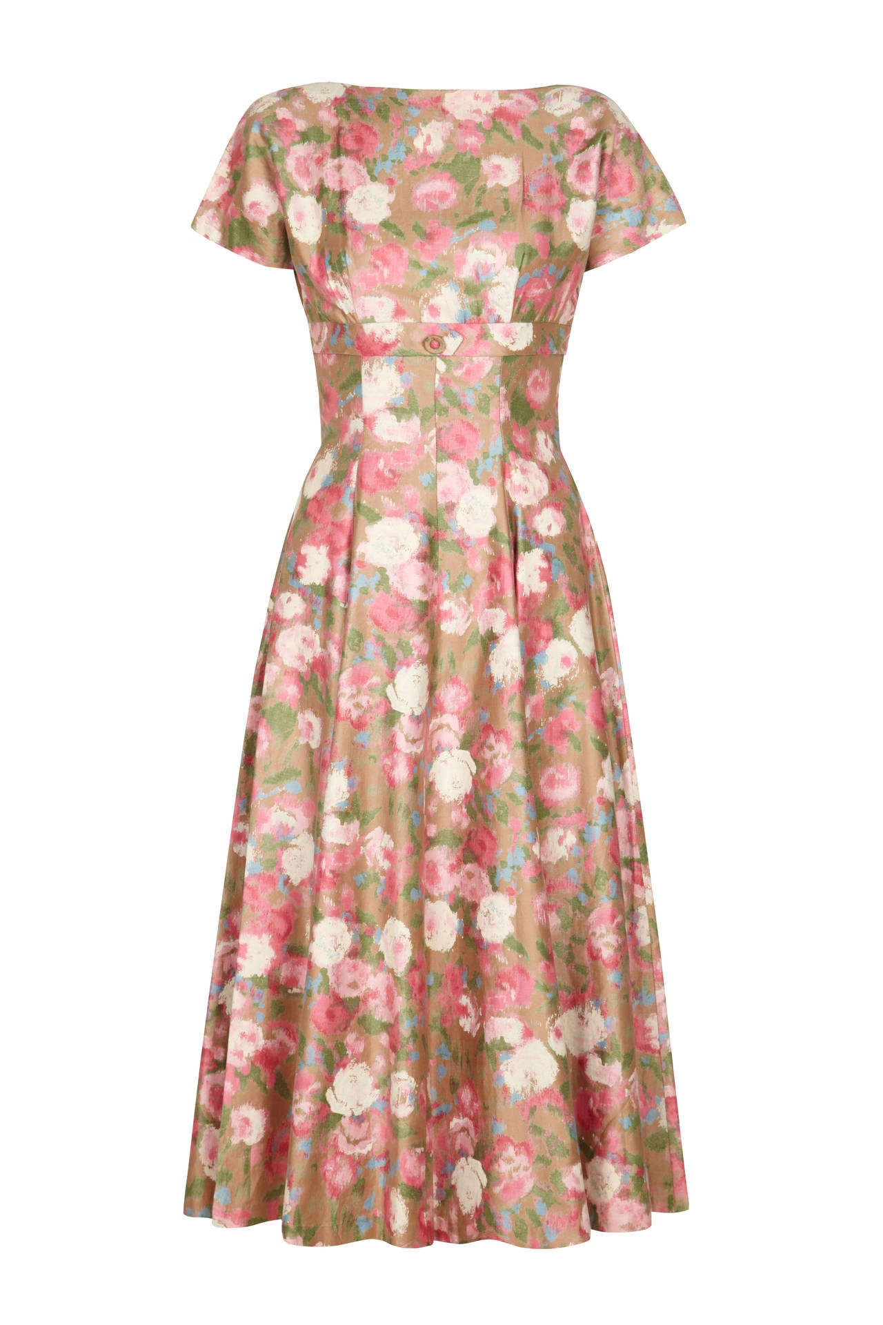 1950s Polished Cotton Floral Dress at 1stdibs