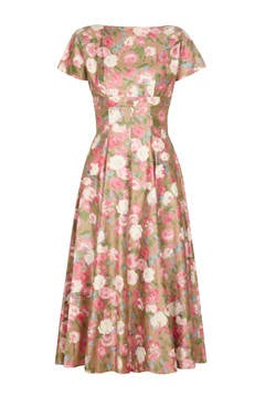 1950s Polished Cotton Floral Dress