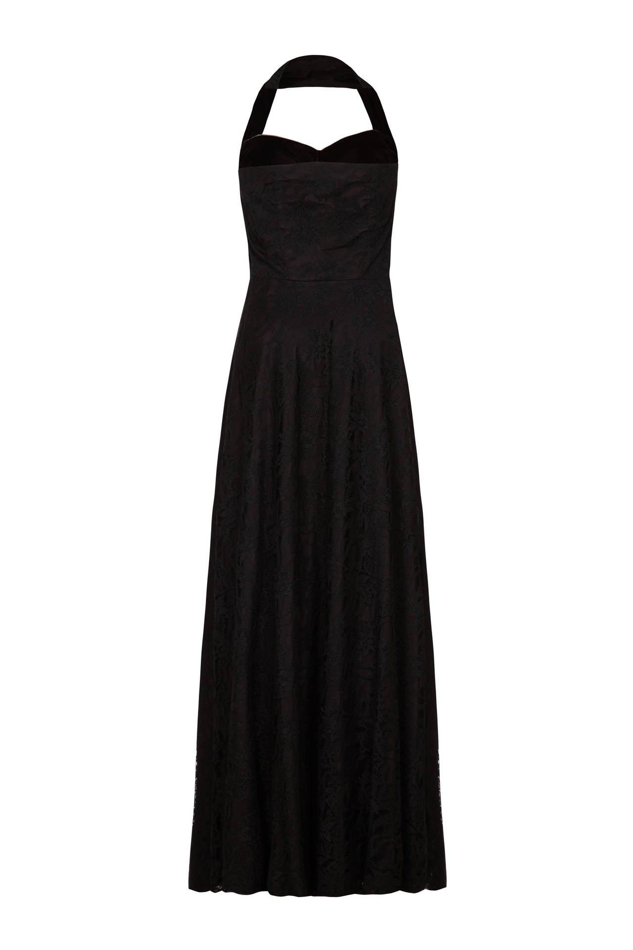 1950s Black Lace & Satin Halter Neck Dress 2