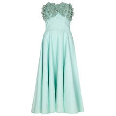 1950s Aquamarine Cotton Dress With Floral Rhinestone Applique