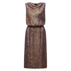 1960s Maurice Rentner Purple Lame Dress