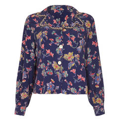 1930s Floral Printed Silk Blouse