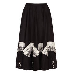 1950s Black Circle Skirt With Monochrome Applique
