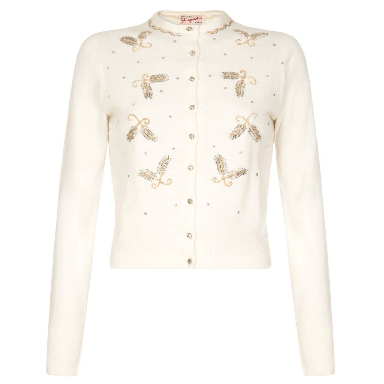 1950s Schiaparelli White Beaded Cardigan at 1stdibs