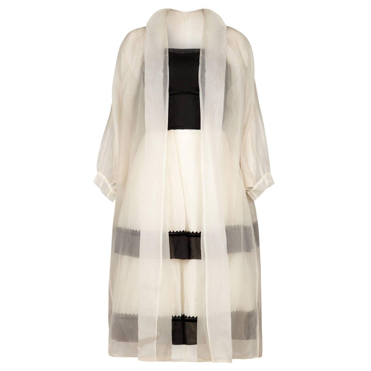 1950s Monochrome Dress With White Silk Organza Overcoat
