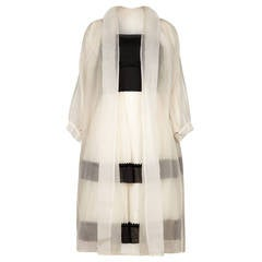 1950s Monochrome Dress With White Silk Organza Overcoat