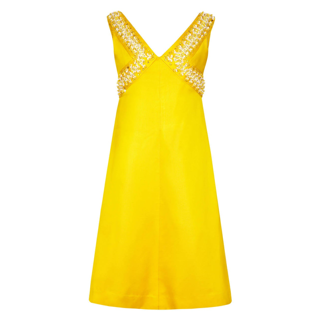 1960s French Couture Yellow Silk Dress With 3D Beading For Sale
