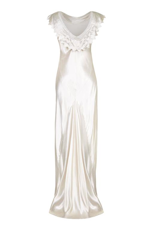 1930s Ivory Satin Wedding Dress with Cowl Neck and Beading 3