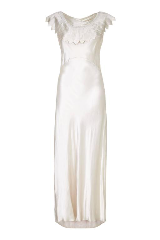 1930s ivory satin wedding dress with cowl neck and beading for Around the neck wedding dresses