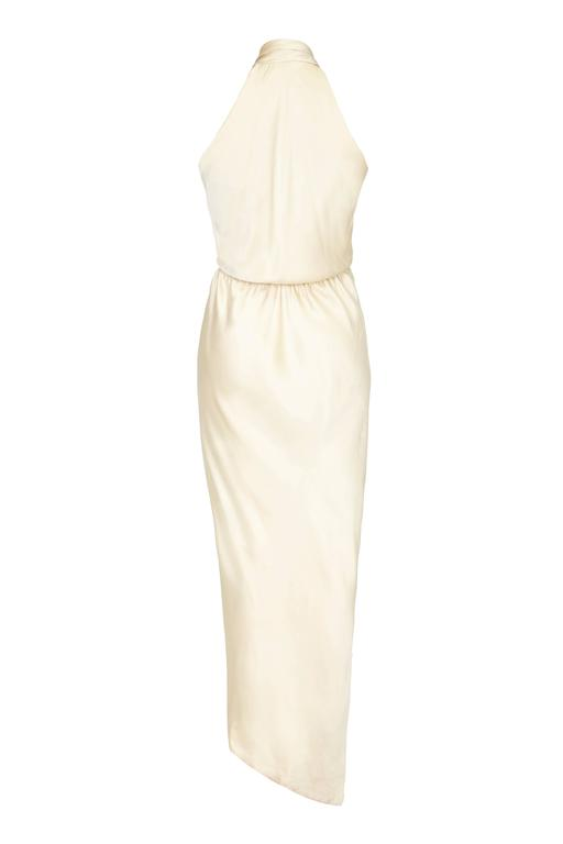 1970s Cream Silk Halston Halterneck Dress 2