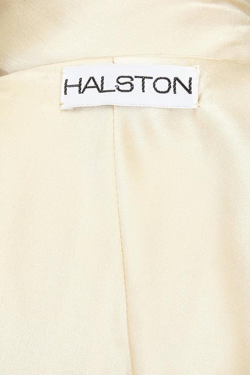 1970s Cream Silk Halston Halterneck Dress 3