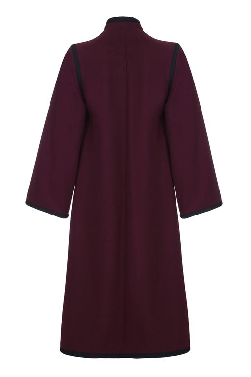 1970s YSL Yves Saint Laurent Burgundy Wool Russian Collection Coat 2