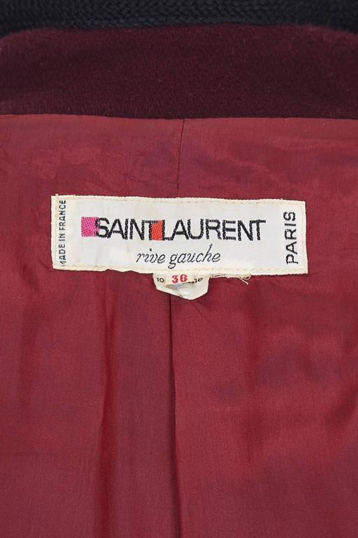 1970s YSL Yves Saint Laurent Burgundy Wool Russian Collection Coat 3