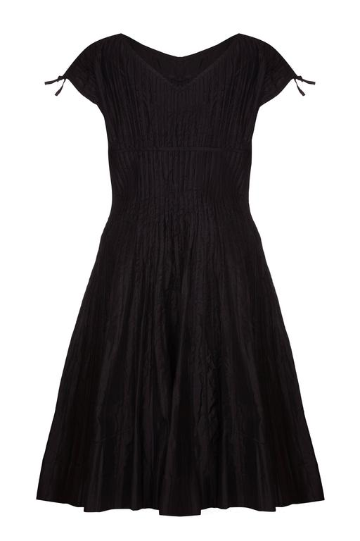 1950s Ben Reig Black Silk Ribbon Dress  2