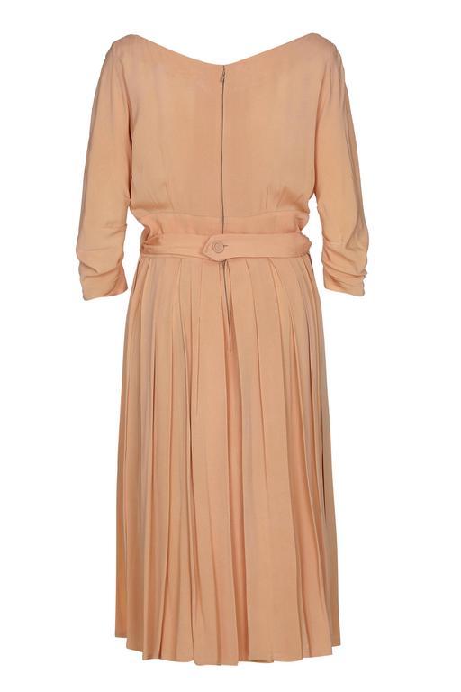 1950s Christian Dior Peach Silk Dress 2