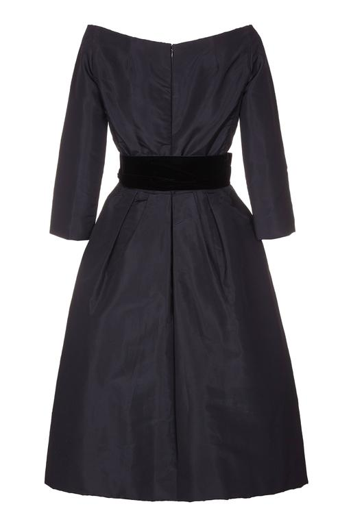 Sensational 1950s Christian Dior Black Taffeta Silk Dress with ...