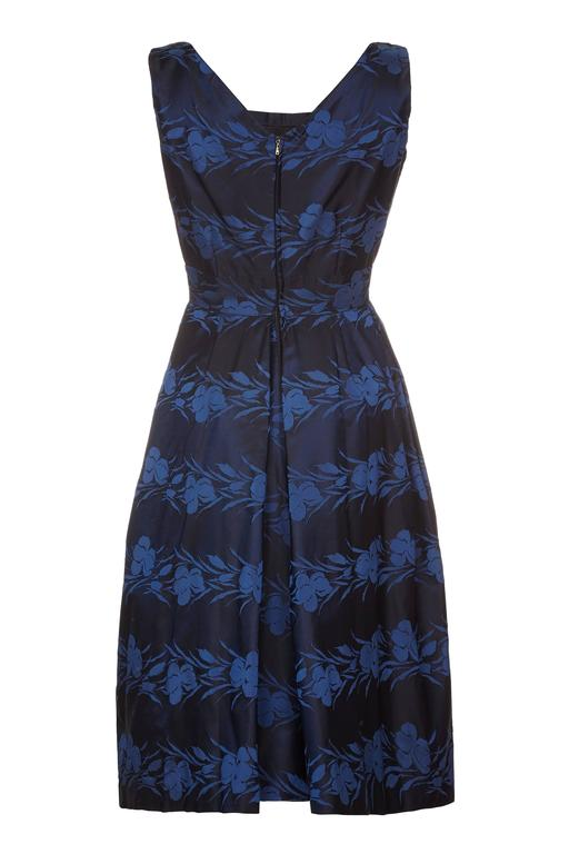 1950s Susan Small Silk Brocade Midnight Blue and French Blue Dress 2