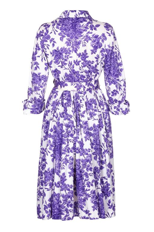 1960s Tudor Purple Rose Print Shirt Waister Dress 2