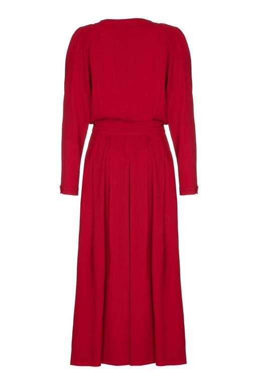 1980s Chanel Red Wool Dress 2