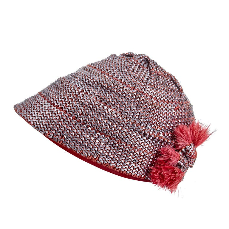 Original 1920's Flapper Cloche Hat With Metal Raffia Weave And Feather Trim