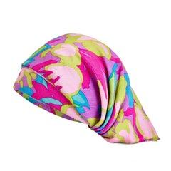 Royal Milliner Simone Mirman 1960s Colourful Crepe Silk Turban Hat