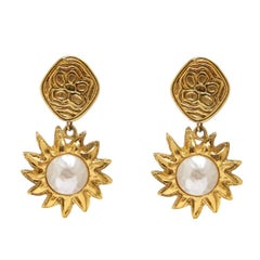 Chanel 1990s Gold Tone Sun Drop Earrings
