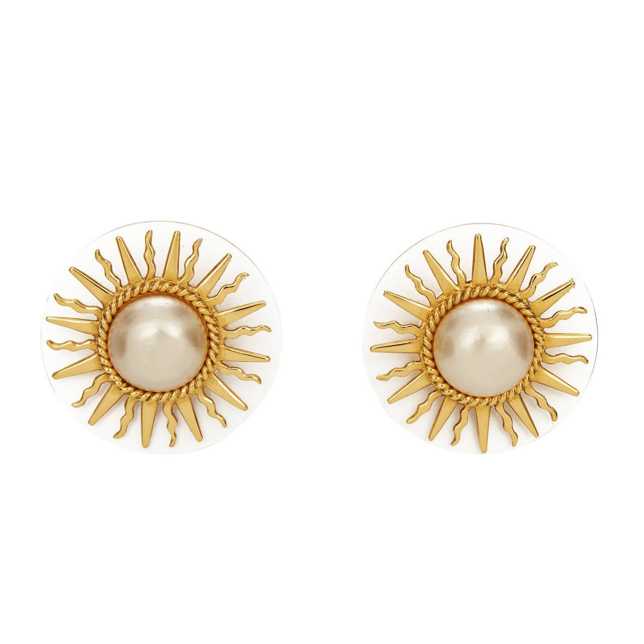 1980s Chanel Large Sun Earrings For Sale