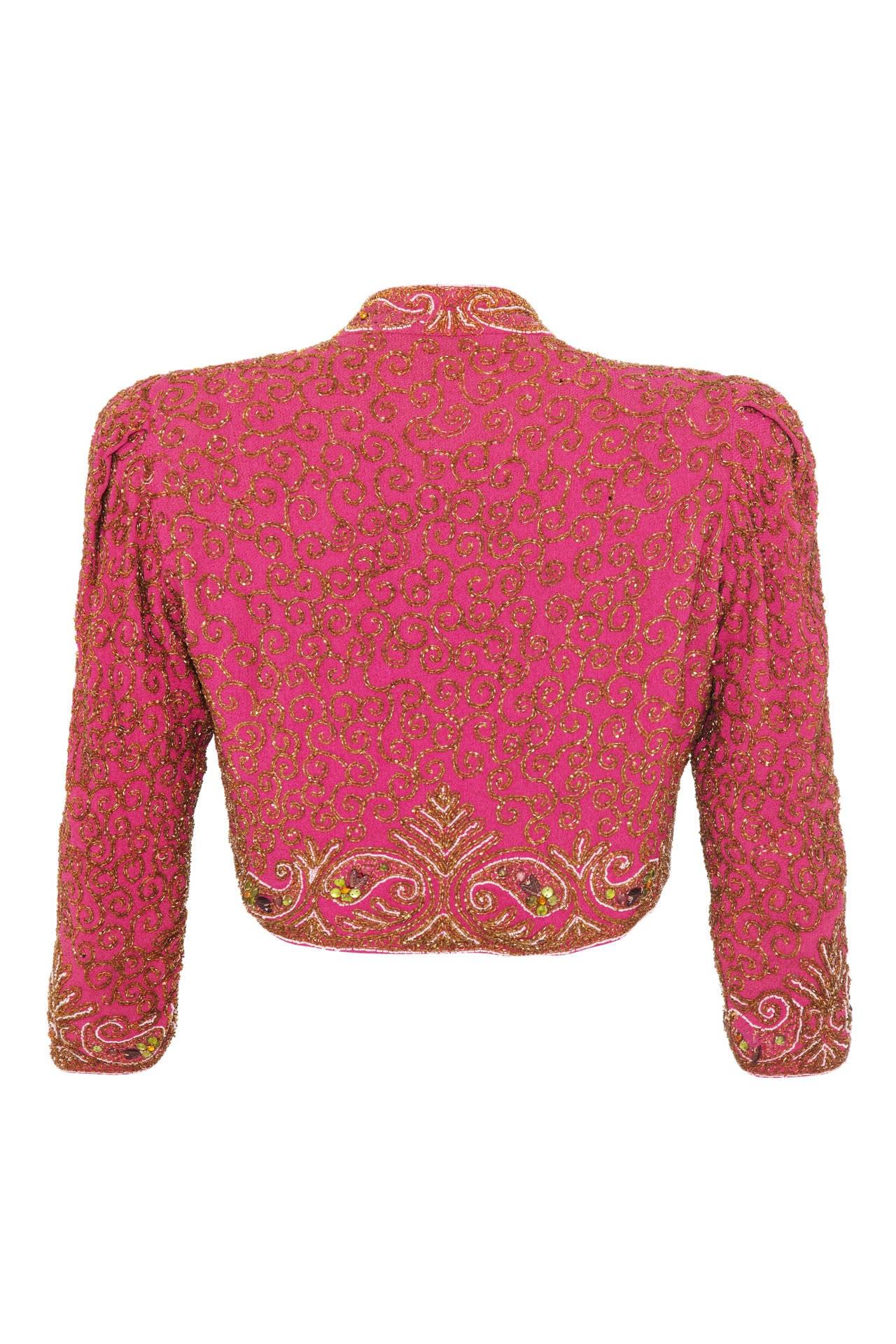 Spectacular 1930s Pink Silk Beaded Bolero Jacket 2