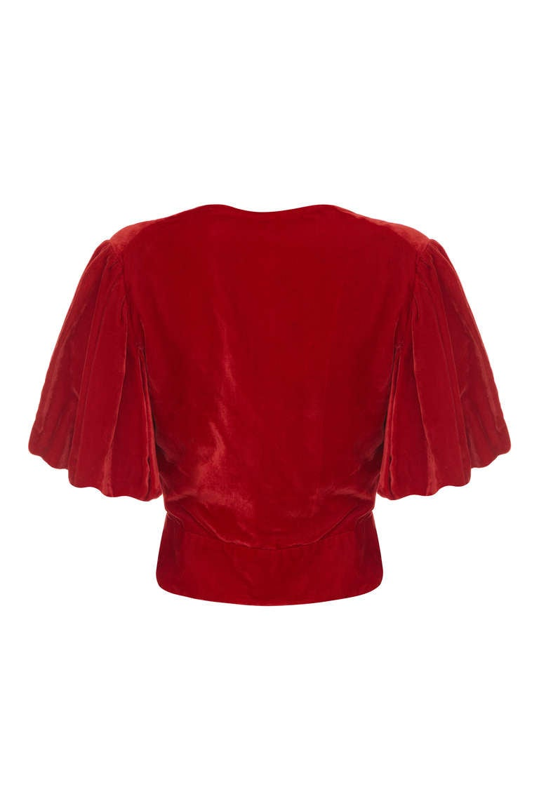 1930's Red Silk Velvet Jacket 2