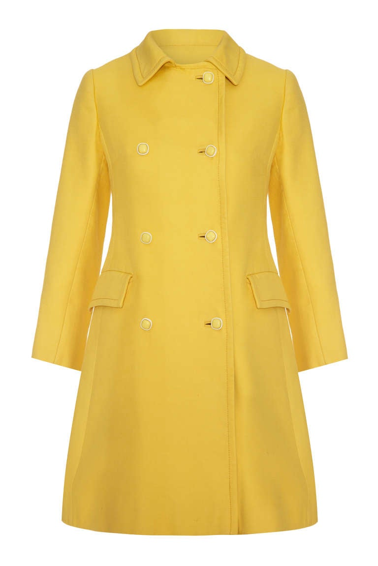 1960's Christian Dior Yellow Button Up Coat and Matching Dress 2