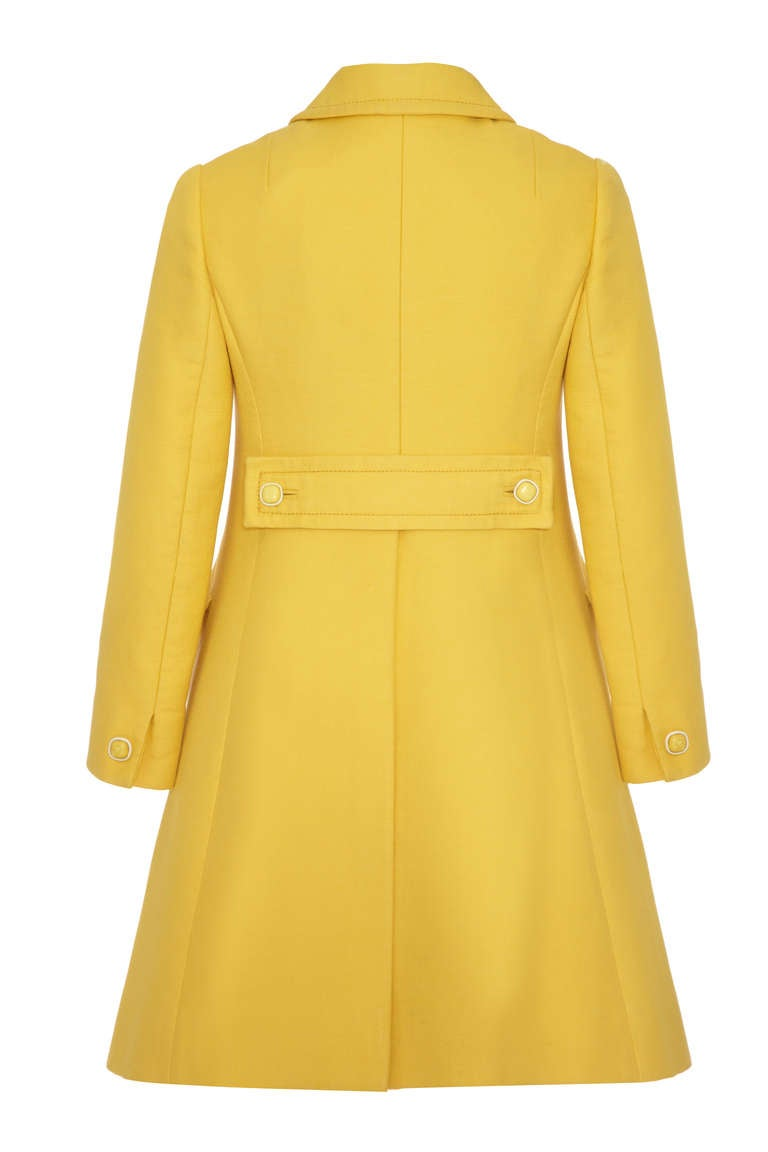 1960's Christian Dior Yellow Button Up Coat and Matching Dress 3