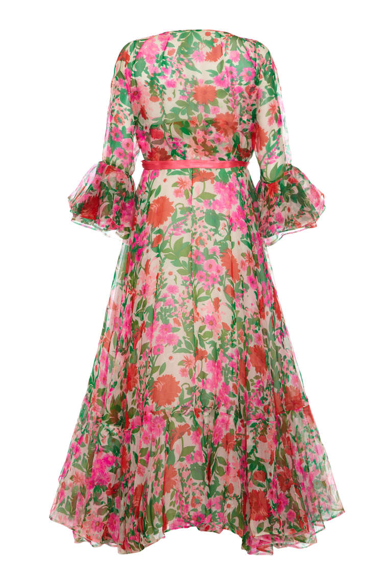 1960's Organza Maxi Dress with Bold Floral Print 2