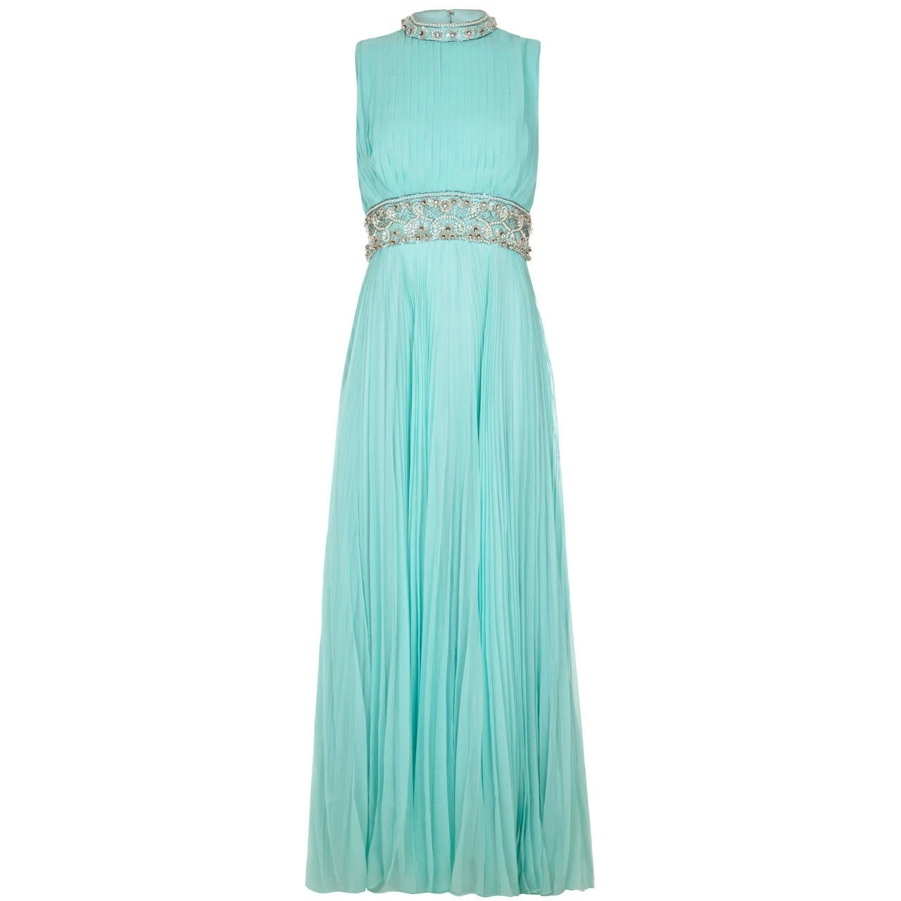 1960s Cerdley Turquoise Pleated Chiffon Beaded Gown For Sale